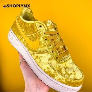 Nike Air Force 1 Mineral Gold Velvet Size 7